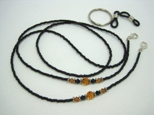 Black Topaz Beaded Lanyard