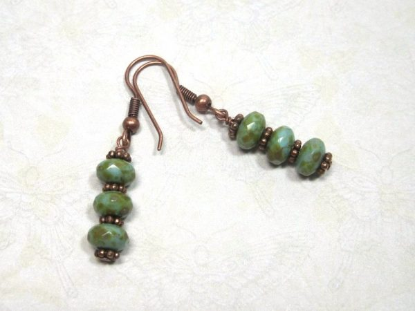 Blue Sand Copper Dangle Earrings