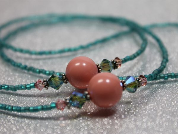 Coral and Teal Lanyard