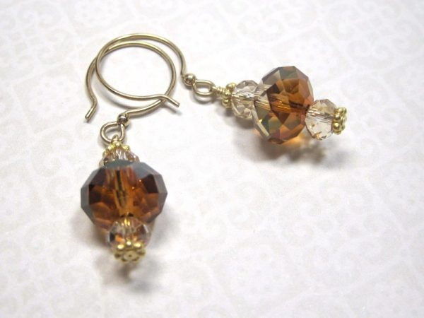Crystal Golden Shadow Earrings with Gold Filled