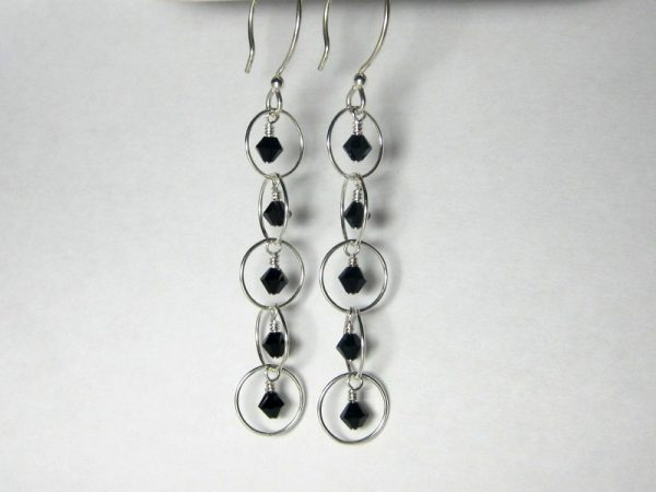 Jet Crystal Silver Bubble Earrings