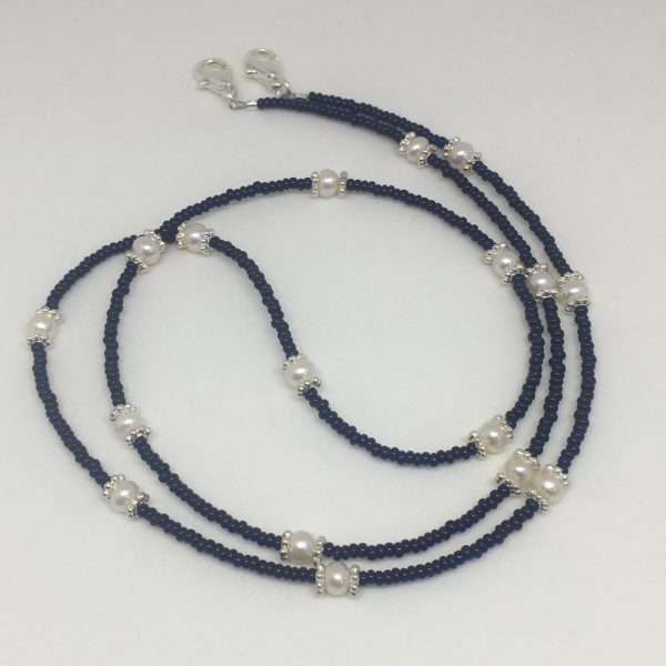 Lanyard Navy Blue and White Pearls
