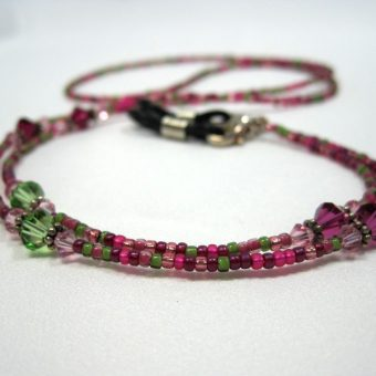 Berry Pink Green Beaded Lanyard