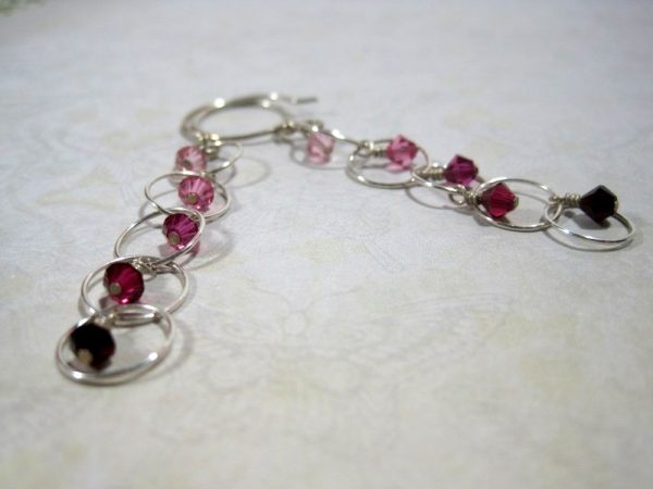 Pink Ombre Crystal Dangle Earrings