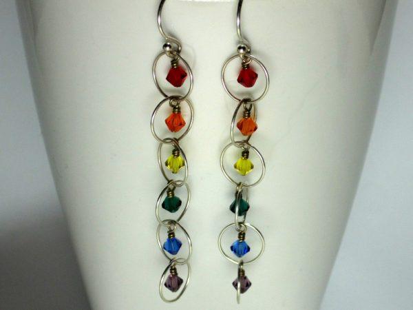 Rainbow Silver Dangle Earrings