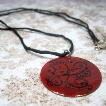 Red Painted Brass Pendant