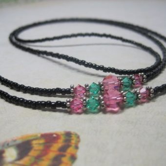 Rose Emerald Beaded Lanyard