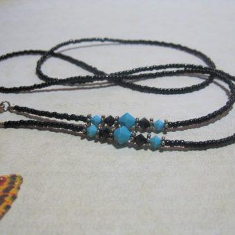Turquoise and Black Beaded Lanyard
