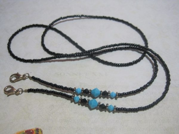 Turquoise and Black Beaded Lanyard