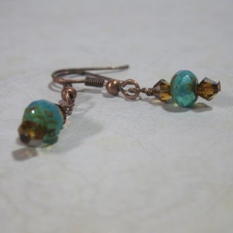Turquoise Colored Glass Earrings