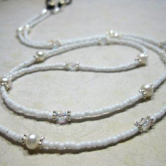 White Pearl Beaded Lanyard