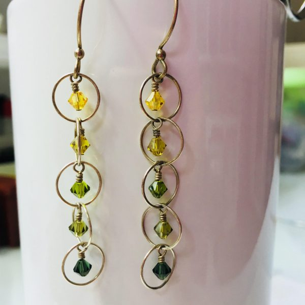 Earrings Green Ombre