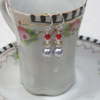 Pale Lavender and Red Earrings