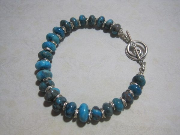 Blue Larimar Colored and Sterling Silver Bracelet
