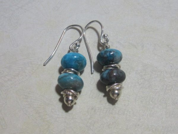 Blue Larimar Colored and Sterling Silver Earrings