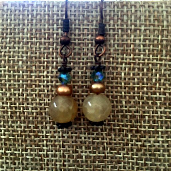Crackle Agate and Copper Earrings