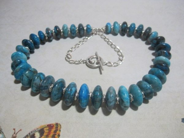 Blue Larimar Colored and Sterling Silver Necklace