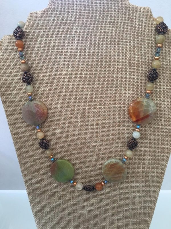 Crackle Agate and Copper Necklace