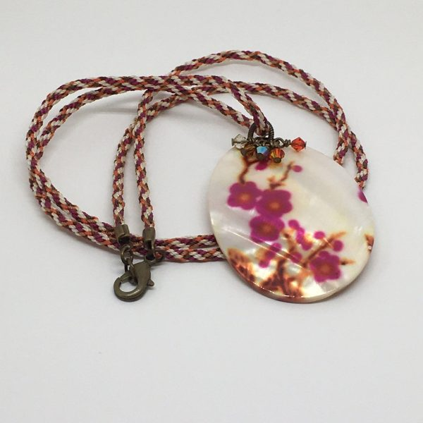 Necklace Mother of Pearl Pendant on Kumihimo Cord